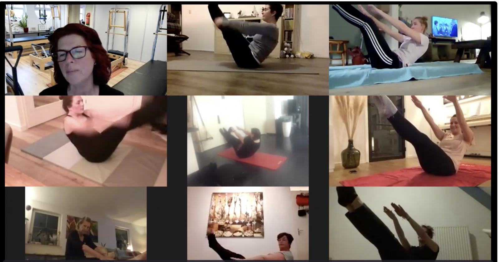 Teaser time in de virtuele studio. Hardwerkende deelnemers tijdens de online Pilates lessen.