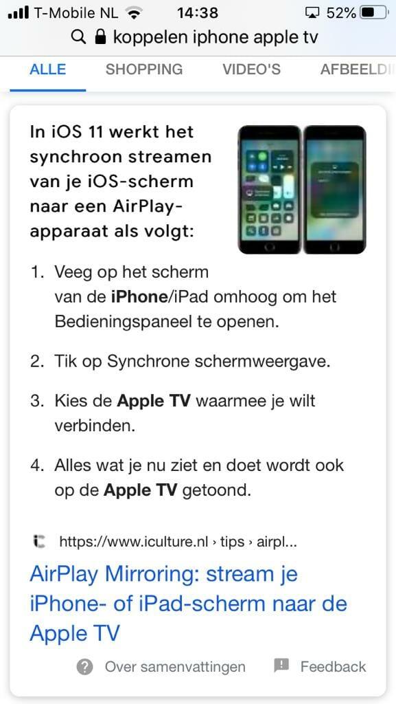 Je kan de les volgen via AppleTV.