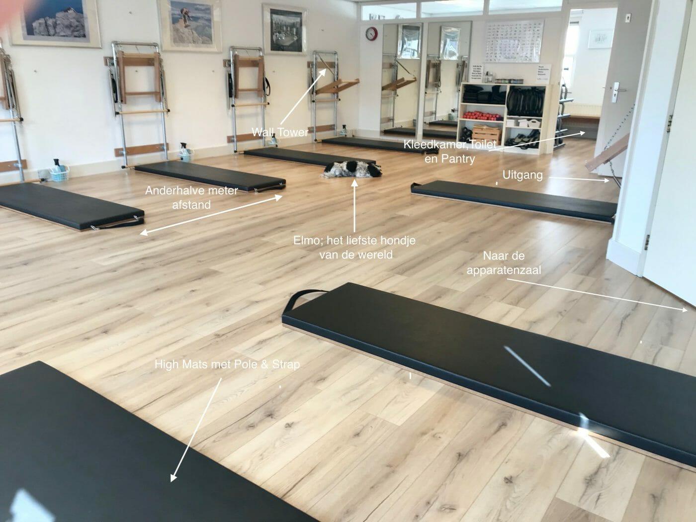 De groepszaal van Pilates Studio Van Sonsbeek in Zoetermeer.